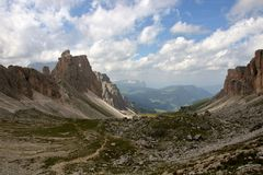 Dolomite`s landscape -Puez odle natural park Stock Photos