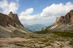 Dolomite`s landscape -Puez odle natural park Royalty Free Stock Photography