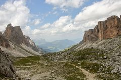 Dolomite`s landscape -Puez odle natural park Royalty Free Stock Photo
