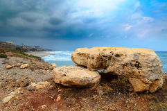 Dolomite stones at coastline of Crete island, Greece Royalty Free Stock Photos