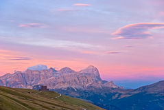 Dolomite Sunset. Sunset view over the Dolomite mountains of Italy Royalty Free Stock Image