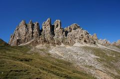 Dolomiteberggrupp i södra tyrol Arkivfoto