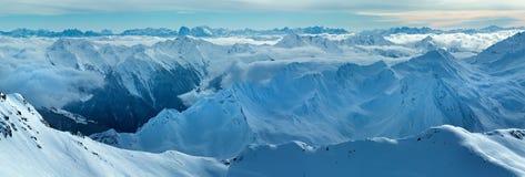Dolomiten Alps winter view (Austria). Panorama. Royalty Free Stock Image