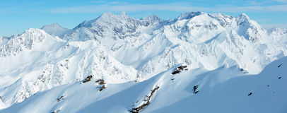 Dolomiten Alps winter view & x28;Austria& x29;. Panorama. Royalty Free Stock Image