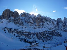Dolomites. Majestic Dolomites with ski runs below royalty free stock photos