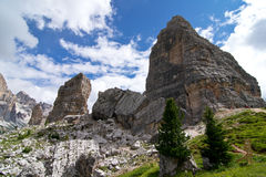 Dolomites. Peaks of the five towers Royalty Free Stock Photography