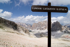 Dolomites. Tofane near cableway of Lagazuoi Royalty Free Stock Photography