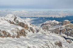 Dolomites aerial sky view taken from Helicopter in winter Stock Images
