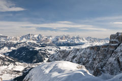 Dolomites aerial sky view Royalty Free Stock Image