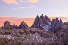 Dolomites in alpenglow Royalty Free Stock Photography