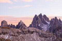 Dolomites in alpenglow. At sunset Stock Image