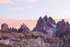 Dolomites in alpenglow Stock Image
