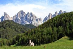 Dolomites Alps and chapel, Italy Royalty Free Stock Photo