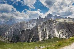 Dolomites, Alps, Italy. Veneto Dolomites seen from the Tre Cime di Lavaredo, Italy stock photography