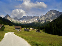 Dolomites Alps, Italy. The Dolomites are a mountain range located in north-eastern Italy. A tourist mecca, the Dolomites are famous for skiing in the winter Royalty Free Stock Images