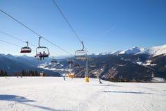 Monte Elmo, Dolomites, Italy - Mountain skiing and snowboarding. Sexten (Sesto), Trentino-Alto Adige, Alta Pusteria. Dolomites Alps, Italy - Mountain royalty free stock images
