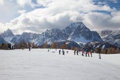 Monte Elmo, Dolomites, Italy - Mountain skiing and snowboarding. Sexten (Sesto), Trentino-Alto Adige, Alta Pusteria. Dolomites Alps, Italy - Mountain royalty free stock photography