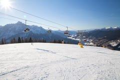 Monte Elmo, Dolomites, Italy - Mountain skiing and snowboarding. Sexten (Sesto), Trentino-Alto Adige, Alta Pusteria. Dolomites Alps, Italy - Mountain stock images