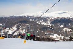 Monte Elmo, Dolomites, Italy - Mountain skiing and snowboarding. Sexten (Sesto), Trentino-Alto Adige, Alta Pusteria. Dolomites Alps, Italy - Mountain stock photo