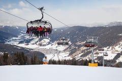 Monte Elmo, Dolomites, Italy - Mountain skiing and snowboarding. Sexten (Sesto), Trentino-Alto Adige, Alta Pusteria. Dolomites Alps, Italy - Mountain stock photography