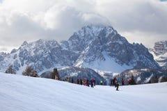Monte Elmo, Dolomites, Italy - Mountain skiing and snowboarding. Sexten (Sesto), Trentino-Alto Adige, Alta Pusteria. Monte Elmo, Dolomites, Italy royalty free stock photography