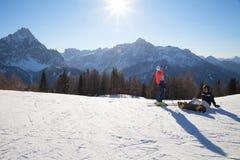 Monte Elmo, Dolomites, Italy - Mountain skiing and snowboarding. Sexten (Sesto), Trentino-Alto Adige, Alta Pusteria. Dolomites Alps, Italy - Mountain stock image