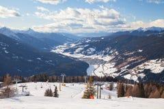 Monte Elmo, Dolomites, Italy - Mountain skiing and snowboarding. Sexten (Sesto), Trentino-Alto Adige, Alta Pusteria stock photo
