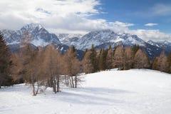 Monte Elmo, Dolomites, Italy - Mountain skiing and snowboarding. Sexten (Sesto), Trentino-Alto Adige, Alta Pusteria. Dolomites, Italy - Sexten Sesto royalty free stock photos