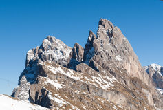 Dolomites Alps - overlooking the Sella group  in Val Gardena. Royalty Free Stock Photos