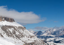 Dolomites Alps - overlooking the Sella group  in Val Gardena. Stock Images