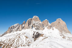 Dolomites Alps - overlooking the Sella group  in Val Gardena. Stock Photo