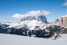 Dolomites Alps - overlooking the Sella group  in Val Gardena Stock Photos