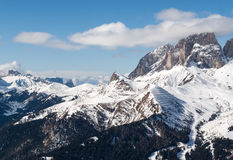 Dolomites Alps - overlooking the Sella group  in Val Gardena Royalty Free Stock Photo