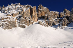 Dolomites Alps skiing in Trentino Italy. Dolimites Alps in Trentino alto Adige region, Italy - skiing tracks on Latemar mountain royalty free stock photo