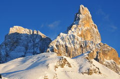 Dolomites Alps in Trentino Italy. Dolimites Alps in Trentino alto Adige region, Italy - Pale di San Martino - Passo Rolle mountains in winter royalty free stock image