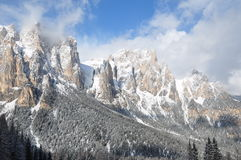 Dolomites Alps under winter sun, Italy, Europe. Dolomites Alps under winter sun, Italy, Trentino province, Europe Stock Images