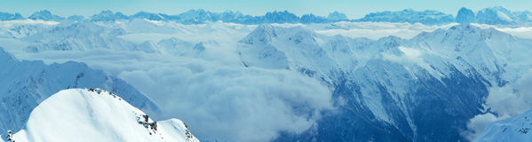 Dolomites Alps winter view Austria. Panorama. Royalty Free Stock Images
