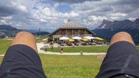 Dolomites, Alta Badia, Sud Tirol, Italy. The Pralongia lodge in summer time. Blue sky stock image