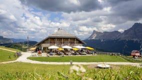 Dolomites, Alta Badia, Sud Tirol, Italy. The Pralongia lodge in summer time. Hikers destination stock photo