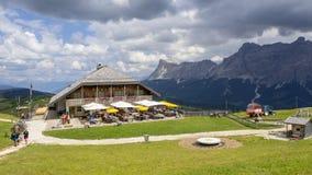 Dolomites, Alta Badia, Sud Tirol, Italy. The Pralongia lodge in summer time. Hikers destination royalty free stock photo