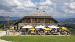 Dolomites, Alta Badia, Sud Tirol, Italy. The Pralongia lodge in summer time. Hikers destination stock image