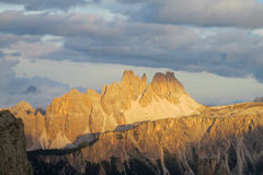 Dolomites beautiful rocky peak at sunset Royalty Free Stock Image