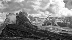 Dolomites black and white landscape Royalty Free Stock Images