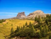 Dolomites, cima del passo. Falzarego Stock Photos