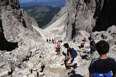 Dolomites. CIRCA JULY 2008 - DOLOMITES: wanderers at the Plattkofel in the Italian Dolomites, Alps royalty free stock photo