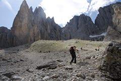Dolomites. CIRCA JULY 2008 - DOLOMITES: wanderers at the Plattkofel in the Italian Dolomites, Alps stock photography