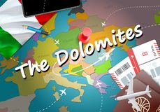 The Dolomites city travel and tourism destination concept. Italy royalty free illustration