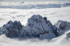 Dolomites in the Clouds. In Winter Royalty Free Stock Images