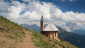 Dolomites, Col di Lana and chapel. Dolomites, Fanes Group, Col di Lana peak and votive chapel Stock Photos