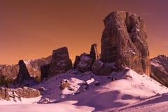Dolomites de Cinque Torri Italy imagem de stock royalty free